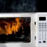 What should you never put in a microwave?